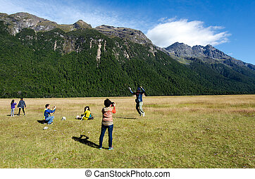 Fiordland - Homer Tunnel - FIORDLAND, NZ- JAN 14:Tourists...