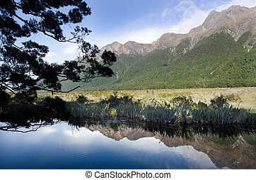 Fiordland - New Zealand - The Mirror lake in Fiordland, New...