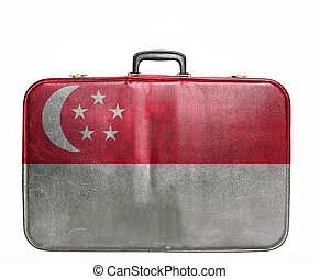Vintage travel bag with flag of Singapore