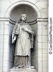 St. Stephen at the facade of the Saint Etienne du Mont...