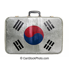 Vintage travel bag with flag of South Korea