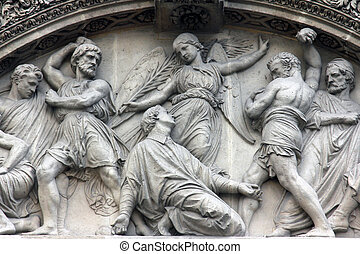 The Martyrdom of St. Stephen pediment of the front door of...