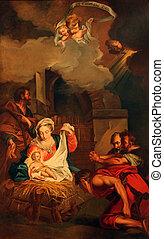 natividad, escena, adoración, pastores