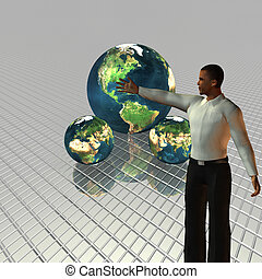 Barack Obama 3d model with globe in background