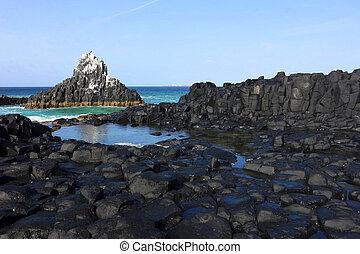 Craggy coastline - Craggy coastline along the west african...