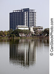Business buildings. - Business buildings with reflections in...