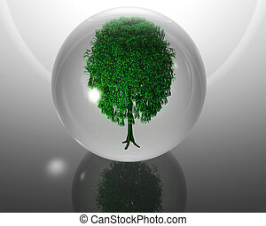 green ecological tree in glass orb on grey back