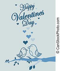 Cute birds Valentines Day background
