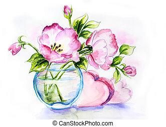 primavera, fiori, vaso, acquarello, pittura
