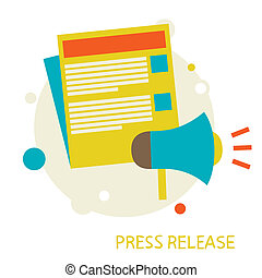 Press Release - illustration in a flat style. Press Release....