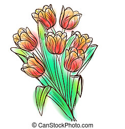 Watercolor tulips bouquet