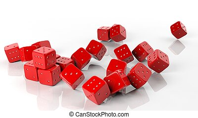 3D red rolling dice isolated on white background