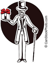 lord wish present - silhouette of a gentleman with a gift