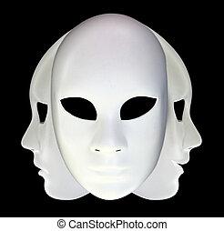 branca, Máscaras, pretas, fundo