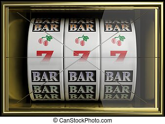 Slot fruit machine with 777 and cherries winning