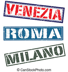 venezia roma milano grunge on whit , vector illustration
