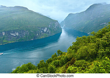 Geiranger Fjord Norge and waterfall Seven sisters view from...