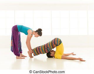 instructor teaching yoga - Beautiful women istructor...