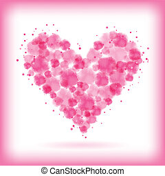 watercolor heart - abstract pink watercolor drops within...