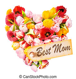 Mothers Day heart-shaped greeting with an arrangement of...