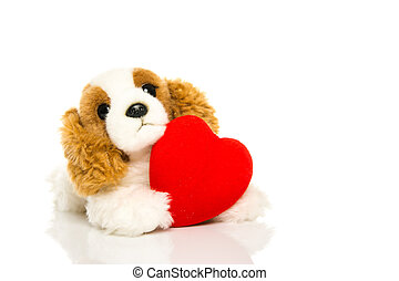 dog and heart - A cute lover valentine puppy dog with red...