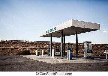 USA gas station - Rusty abandoned vintage USA gas station,...