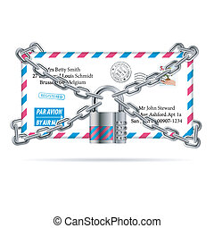 Confidential Mail Concept - Code Padlock with chain protects...