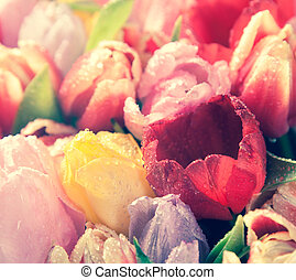 Vintage floral background of fresh tulips - Vintage effect...