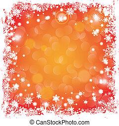 Christmas Frame - Grunge Christmas Frame with Snowflakes and...