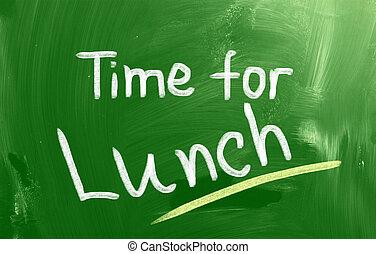 tempo, para, almoço, conceito