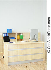 Modern office upright - Modern office with wooden furniture...