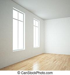 Windows in empty room and wooden floor