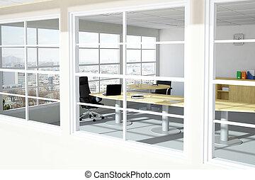 城市, 現代, 房間, 辦公室