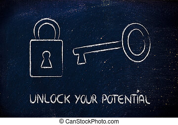 unlock your potential - conceptual design with key and lock:...
