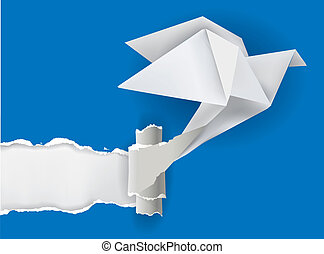 Origami bird ripping paper - Vector illustration of Origami...