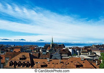 Skyline of Lausanne Losanna city, Switzerland
