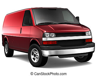 Red cargo van on a white background