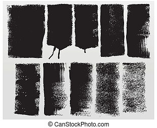 Grunge paint roller strokes - Vector grunge paint roller...