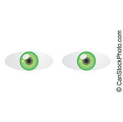 green eyes - Vector illustration of two green eyes on white...