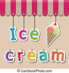ice cream shopfront sign - colorful paper ice cream signs on...