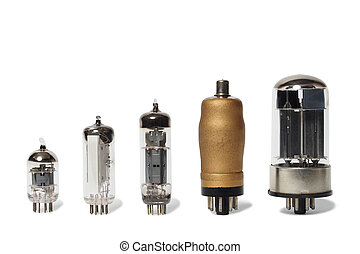 Set of vacuum tubes - Set of old vacuum tubes on white...