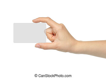 Hand holds virtual card on white background