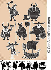 Viking Silhouettes - Set of cartoon Viking silhouettes, each...