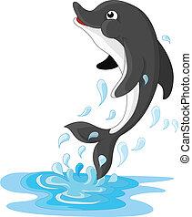 springt, dolfijn, spotprent