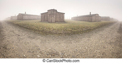Nazi concentration camp Auschwitz I - Electric fence in...