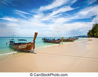 Longtail Boats in Ko Phi Phi - Long-tail boats on the shore...