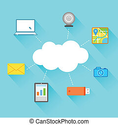 Flat Technology Design of Cloud Computing - illustration of...