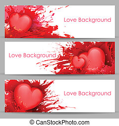 Love Banner for Valentine's Day - illustration of set of...
