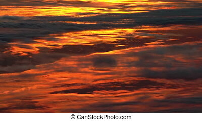 Sunset clouds, aerial footage.