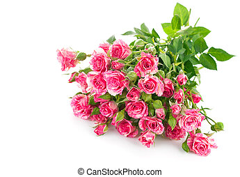 Bouquet pink rose with green leaf